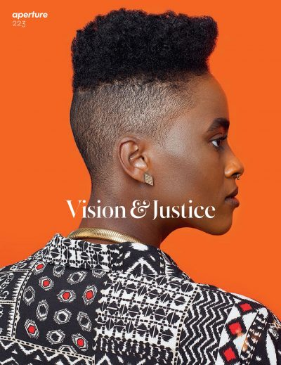 Aperture Vision & Justice cover showing the profile of a Black woman in front of an orange background