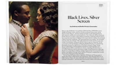 Sample spread of the magazine showing an image of a black couple on the left page and the beginning of an article on the right page