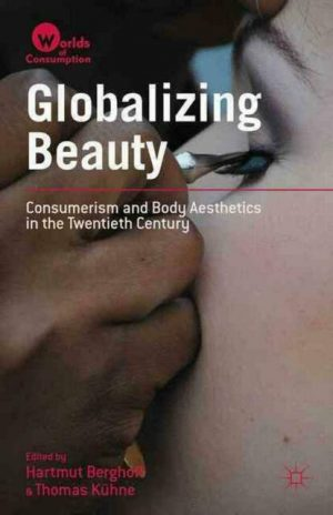 Globalizing Beauty book cover, the title text is overlaying a closeup image of a hand applying false eyelashes onto a person's eyes