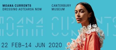 Moana Currents banner featuring the headshot of a model in peach gown in front of the name of the exhibition on a sky blue background