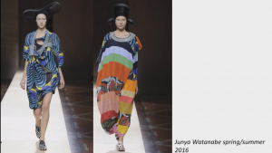 screenshot from the presentation slideshow showing two images of runway models wearing appropriated garmens