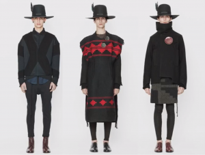 screenshot from the presentation slideshow showing three models wearing different outfits