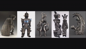 screenshot from the presentation slideshow showing several black and white figural sculptures