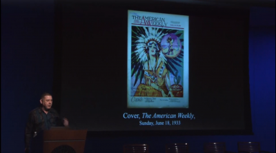 screenshot from the presentation slideshow showing an old Native American advertising stereotype