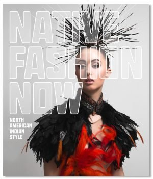 Native Fashion Now exhibition poster featuring transparent text over a portrait of a model in a red and black featured dress