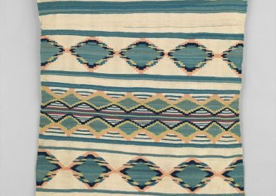 Image of a geometrically patterned cream, green, yellow, peach, and blue coloured Navajo blanket
