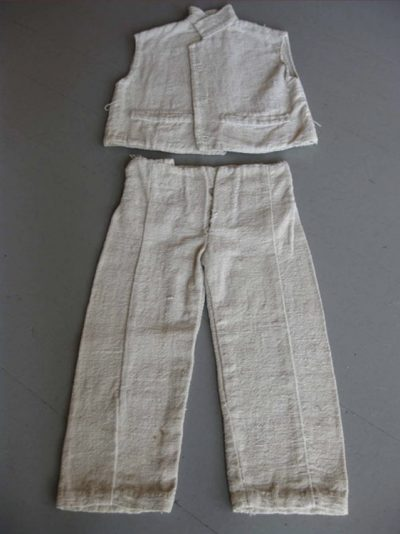 image of a child's shirt and pants made of 'Slave Cloth'