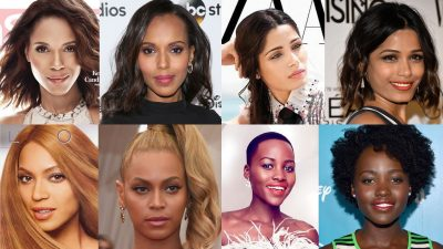 Screenshot from the video has 8 side-by-side photos of skin-lightening in advertisements compared to the true colour of the dark-skinned celebrities