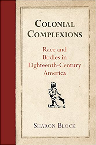 Colonial Complexions book cover featuring an old-fashioned cartoon drawing of a slave on a canvas-coloured background