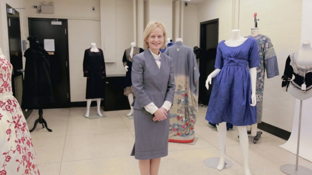photo of Dr. Ingrid Mida in the Ryerson fashion research collection