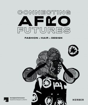 Connecting Afro futures exhibition poster featuring an illustration of a figure with an elaborate hairstyle