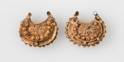 Gold, semi-circle shaped earrings
