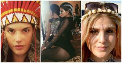 3 photos of women culturally appropriating various garments or hairstyles