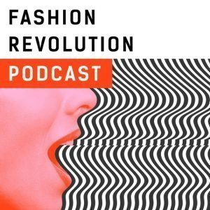 Fashion Revolution podcast logo featuring the side profile of a woman's face with an open mouth and black and white lines radiating from her