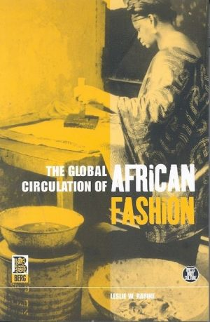 Book cover featuring a yellow filtered image of an African woman working on a textile print