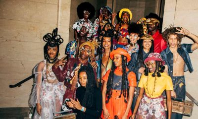 Tolu Coker with several models dressed in her latest collection
