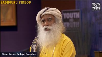 Screenshot from the video showing Sadhguru speaking