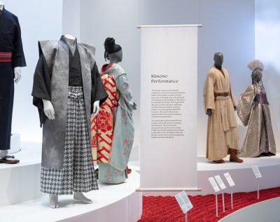Museum display of various modern Kimonos used in movies