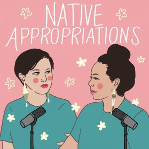 Graphic illustration of Adrienne Keen and Matika Wilbur at the mic
