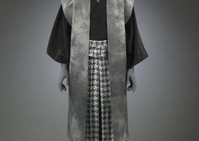 Photo of a Men's black and grey kimono ensemble displayed on a grey mannequin
