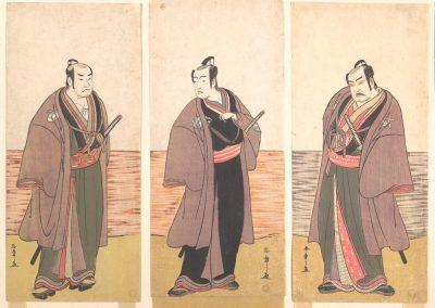 5 woodblock prints side-by-side showing illustrations of male Japanese actors dressed in different Kimonos