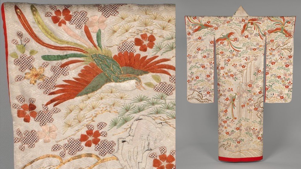 a split-screen image, with a full-length cream colored kimono on the right, and a close-up of detailing on the shoulder on the left