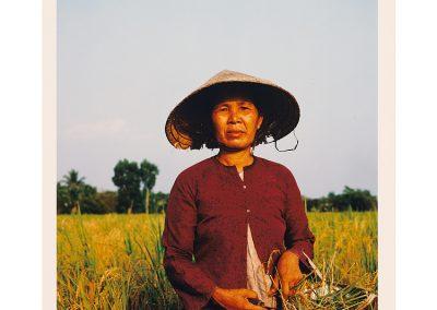 Photo of an elderly Vietnamese woman wearing a non la in the field