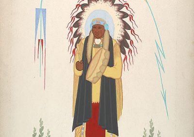 Painting of a Native American Chief beating a drum while wearing a feathered headdress