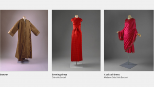 Screenshot of the web article featuring a banyan, evening dress and cocktail dress all inspired by the Orient