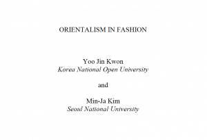 Screenshot of the title page of the Orientalism in Fashion Article