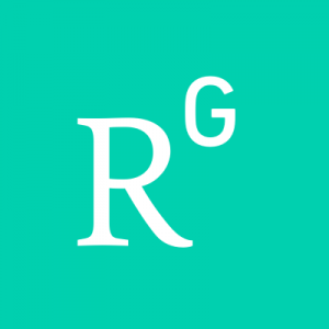 Research Gate Logo of the letters R and G in white on a Aqua green background