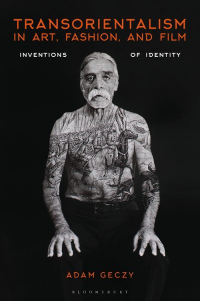 Transorientalism book cover featuring a black and white portrait of an elderly man with a medieval style painting overlaid on his skin