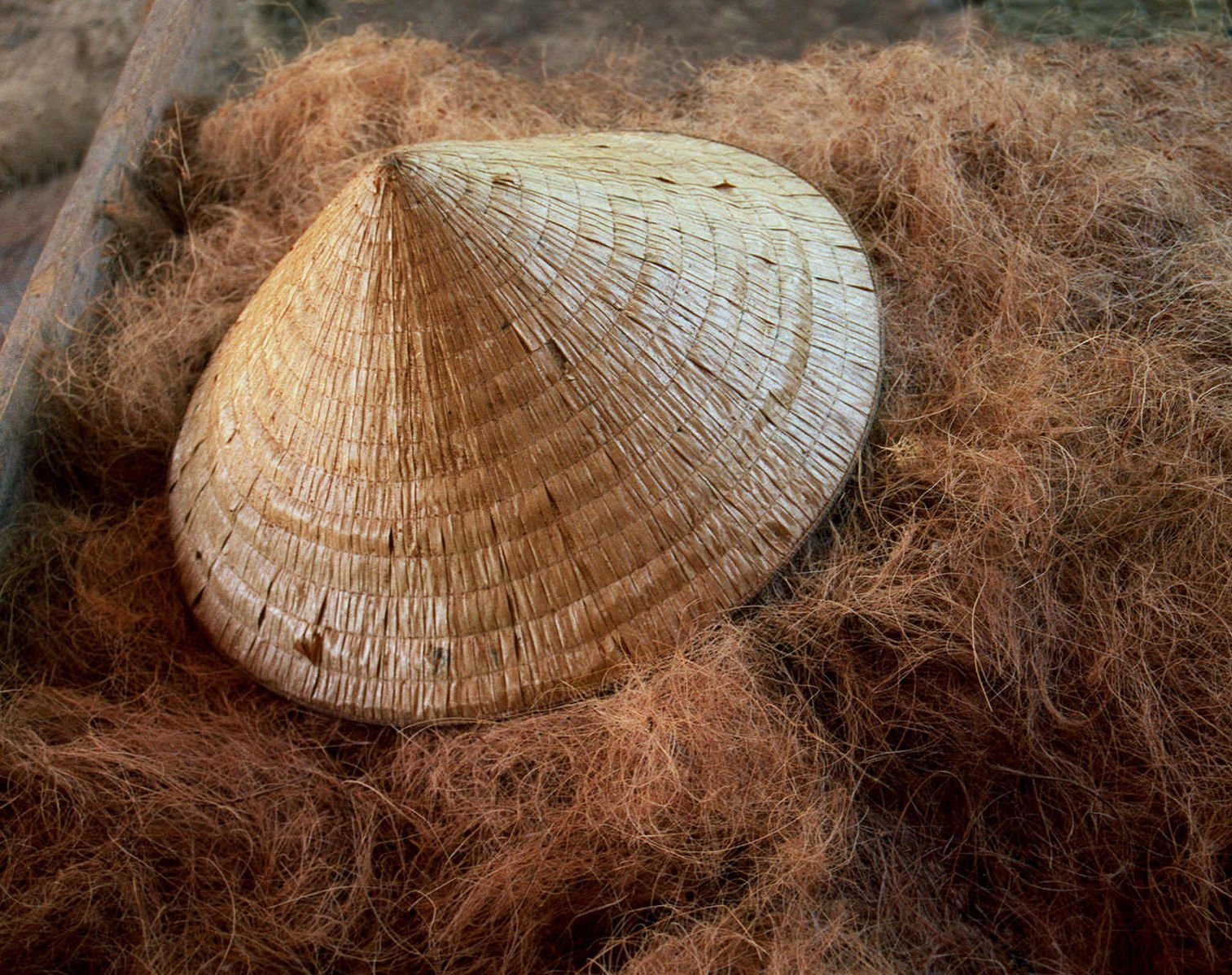 Image of a Vietnamese conical hat on a bed of straw