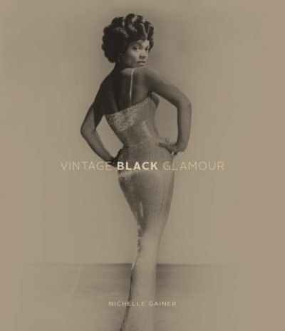 Vintage Black Glamour book cover showing a photograph of a black woman in an evening gown