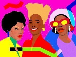 colourful graphic illustration of 3 black women