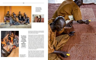 A double page spread from the book Africa Rising featuring several images of the Bogolan textile making process
