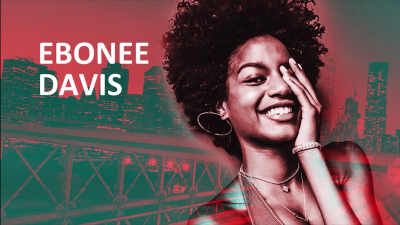 Stylized poster of Ebonee Davis with her name in white text on a filtered city image behind her