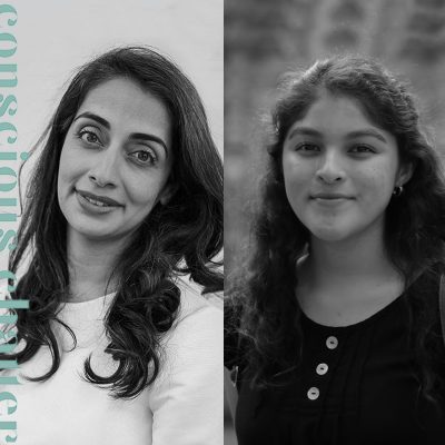 Black and white photos of Ayesha Barenblat and Sajida Silva for the Conscious Chatter podcast cover