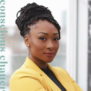 Conscious Chatter podcast episode cover featuring a portrait of Shakaila-Forbes Bell