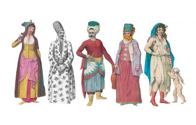 "Illustration from ""The Costume of Turkey"" featuring five different outfits worn in Turkey on men and women."