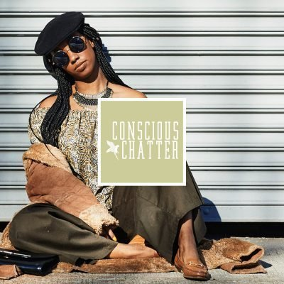 Podcast episode photo of Dominique Drakeford with the Conscious Chatter square logo in the center of the image