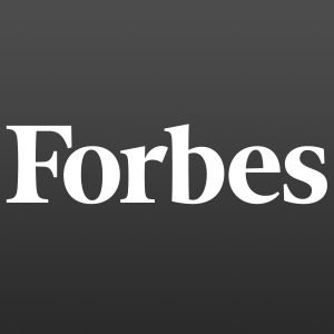 Forbes workmark logo on a black background