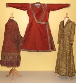Image of the Made in India museum display featuring three traditional mens garments