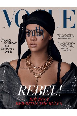 Vogue UK magazine cover with Rihanna in a durag