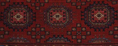 Closeup shot of the textiles from a Turkmenistan storage bag.