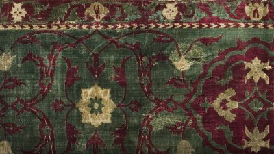 Closeup of a velvet Persian rug
