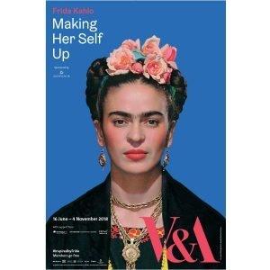 Frida Kahlo in front of blue background