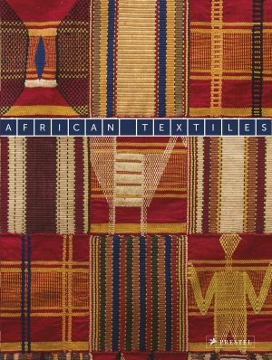 Book cover with images of fragments of textiles with striped and checked patterns and semi-abstract motifs