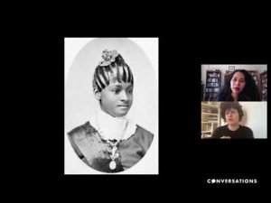 Still from conversation between Keren Ben-Horin and Elizabeth Way with a protrait of a fashionable Black woman on screen