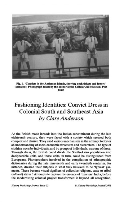 First page of the article with a photo of three men in convict dress